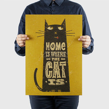 Vintage poster Cat Animal Retro prints paint bar cafe home decoration Wall Art Crafts Sticker