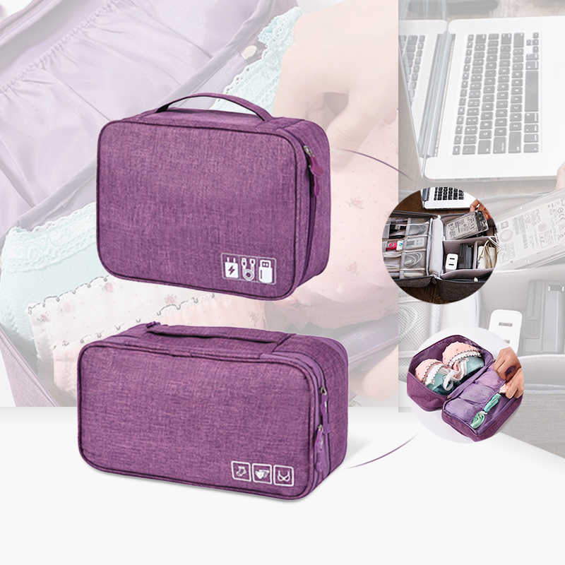 2pcs/set Travel Storage Bags Organizers Digital Cables Wires Power Bra Underware Brief Pouch Bag Case Zipper Package Accessories