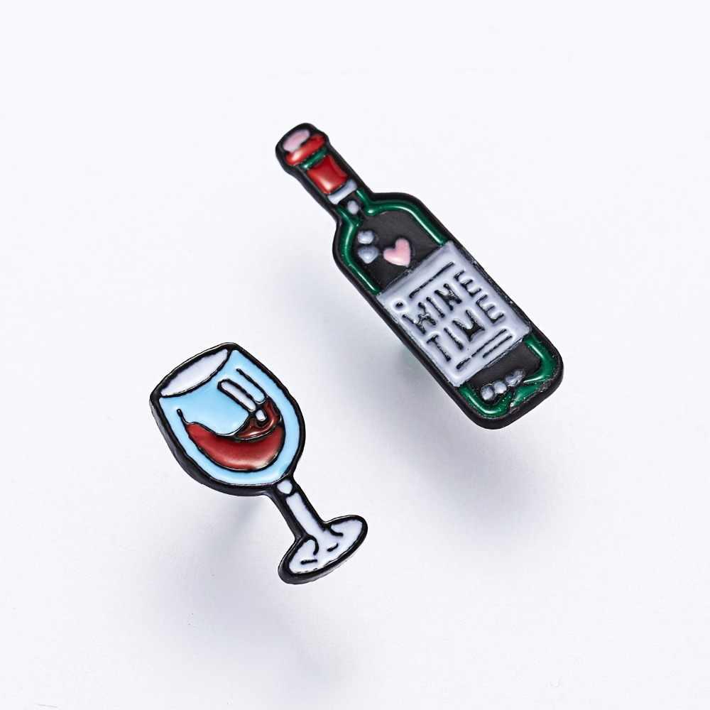 Rinhoo החדש אדום יין זכוכית כוס סיכות יין בקבוק סגסוגת נשים גברים תכשיטי מועדון המפלגה מתנות אוהבי הטוב ביותר חבר תג סיכות