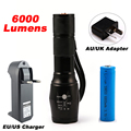 LED CREE XM-L2 T6 Flashlight 6000Lumens Torch 5modes Tactical Flashlight Zoomable Flash Light +18650 Battery + Charger