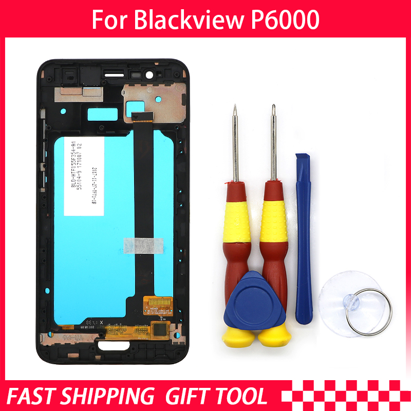Original Touch Screen LCD Display For Blackview P6000 Digitizer Assembly With Frame Replacement Parts+Disassemble ToolOriginal Touch Screen LCD Display For Blackview P6000 Digitizer Assembly With Frame Replacement Parts+Disassemble Tool