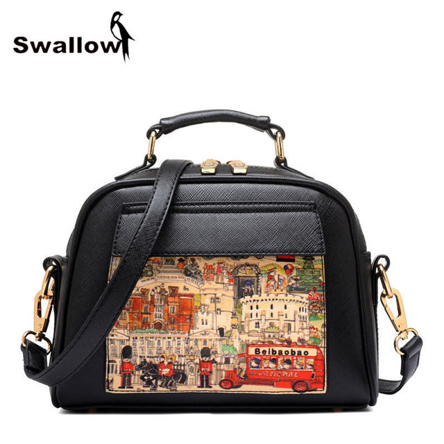 Oil Picture Pattern Women Bag Fashion PU Leather Women Leather Handbag Casual Women Shoulder Bag Fashion Female High Quality