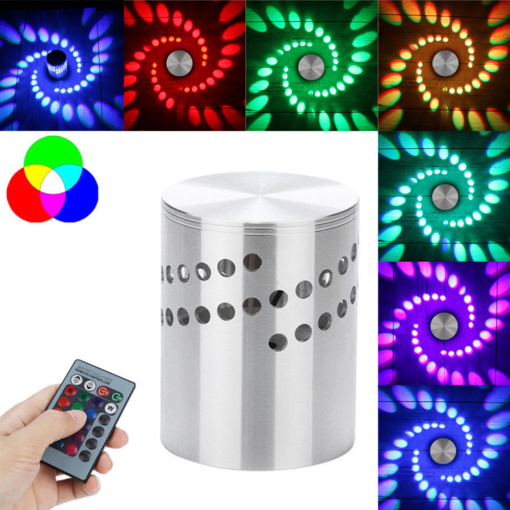 Colorful RGB Spiral Hole Wall Lamp Surface Install LED Light ...