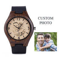 Photo Engraved watch Personalized Wooden Watch as Gift for Him or Her Custom Grooms Gift Birthday Holiday Anniversary Present