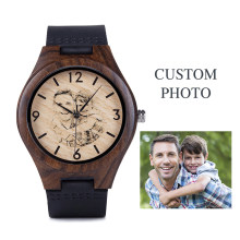 Photo Engraved watch Personalized Wooden Watch as Gift for Him or Her Custom Grooms Gift Birthday Holiday Anniversary Present(China)