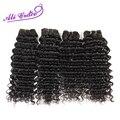 4 pcs Muito Ali Graça Cabelo Peruano Virgem Cabelo Onda Profunda extensão do cabelo humano 1B preto natural weave12 cabelo para 28