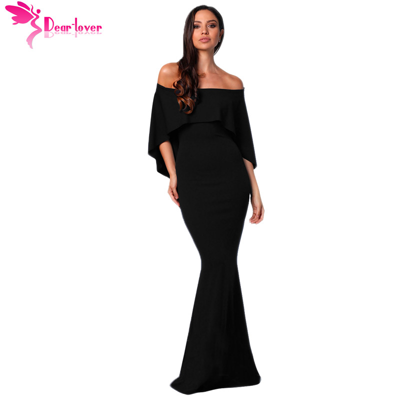 ff50dc7d1533 Dear Lover Sexy Long Evening Party Dress Black Off Shoulder Poncho Formal  Gown Mermaid Dress Robe