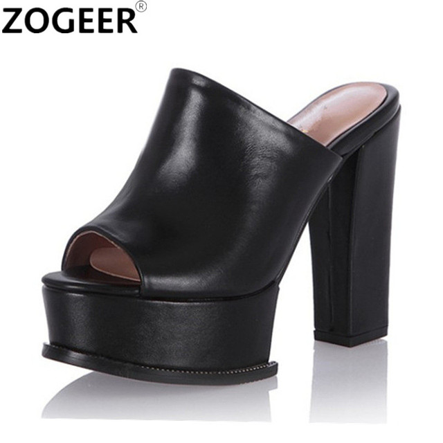 aa7649d1cc6 2019 Summer Fashion PU Leather Slippers Woman Thick High Heel Platform  Wedges Summer Shoes Woman Flip Flops Black White