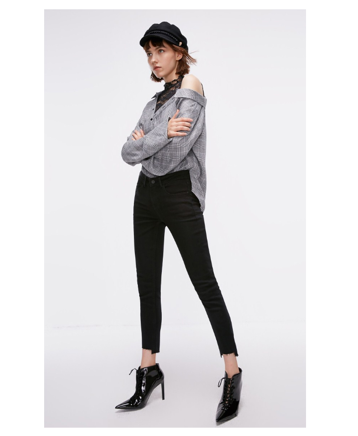 ONLY Women's autumn new low waist slim cropped jeans| 118349591 16