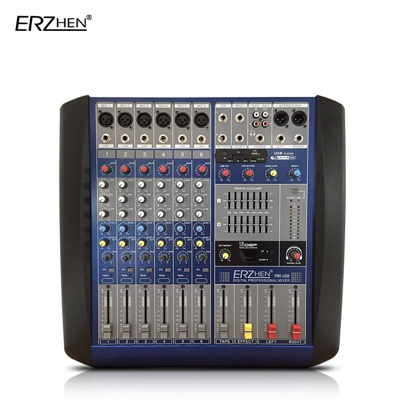 Audio Mixer Console W8000T6 Professional Mixer Audio Amplifier Sound Processor 6 Channel USB professional 4 channel live mixing studio audio sound console network anchor portable mixing device vocal effect processor