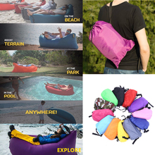 2017 HOT Fast nafukovací Lazy Bag 240 * 70cm Air Spacing Bag Camping Beach Postel Přenosná Air Pohovka Nylon Laybag Air Lounger Lamzac