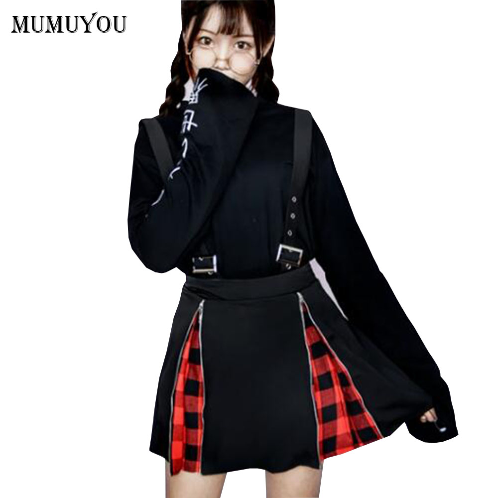 Women suspender skirt black harajuku punk style zip gothic chic a line mini skirts grid