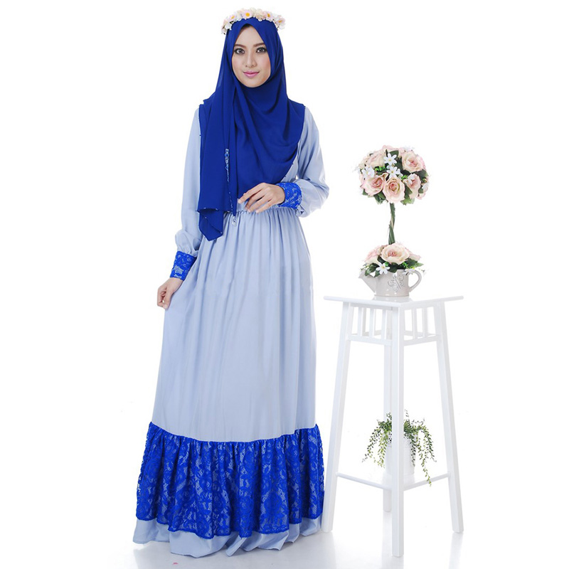 Fashion Abaya Muslim Lace Maxi Dress Women Islamic hijab Clothing ...