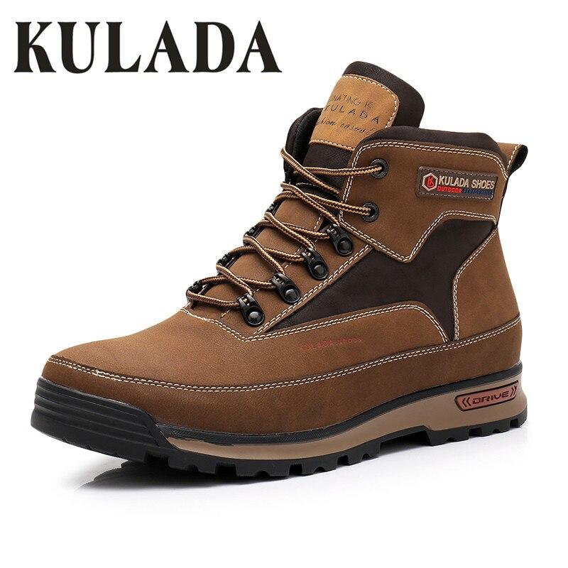 KULADA nouvelles bottes hommes hiver bottes de neige hommes activité de plein air baskets bottes chaudes à lacets haut à la mode chaussures hommes bottes de sécurité