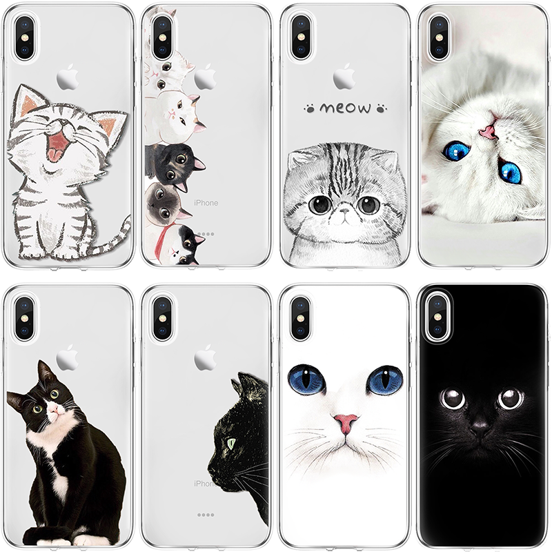 Lovely <font><b>Cat</b></font> Cover For <font><b>iPhone</b></font> XS Max XR X <font><b>5</b></font> SE 6S S 7 8 Plus Coque For Huawei P8 P9 P10 2017 P20 Mate 10 20 Lite Pro Honor 8X <font><b>Case</b></font> image