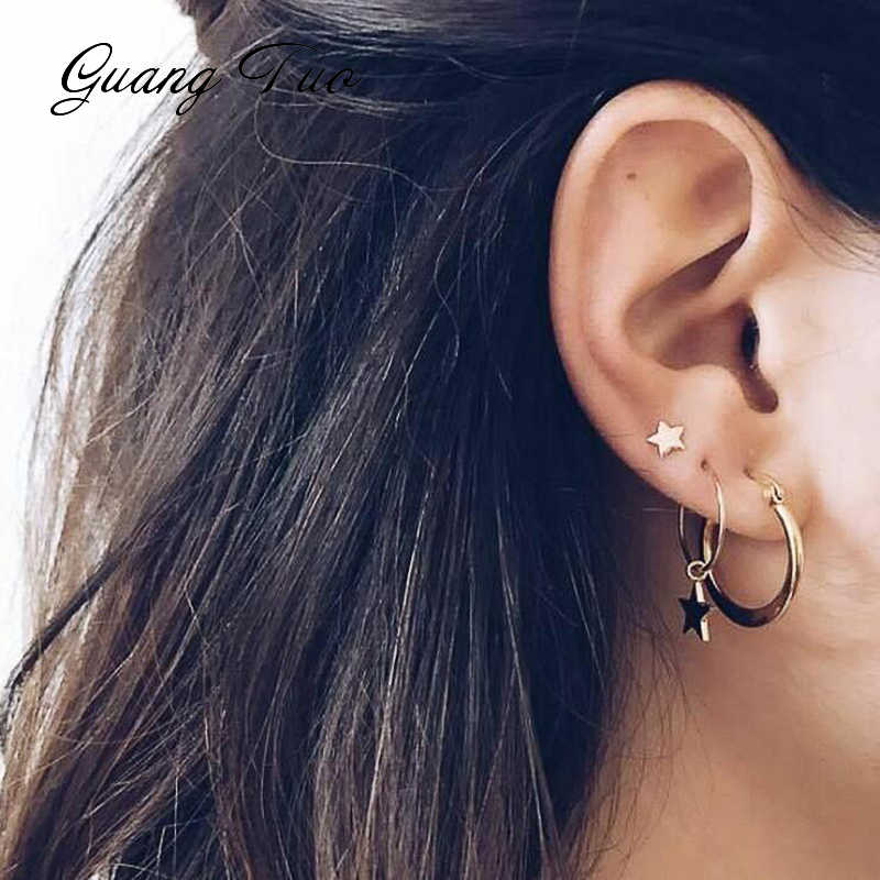 ES226 New Fashion Earrings Creative Fashion Star Earrings Circular Pattern Lady's Personality And Four Earrings Set Wholesale