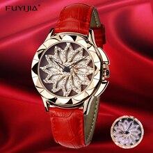 2017 nieuwe vrouw quartz horloges waterdicht 30mFUYIJIA horloge draaiende wijzerplaat jurk riem horloge mode rose goud dameshorloge student