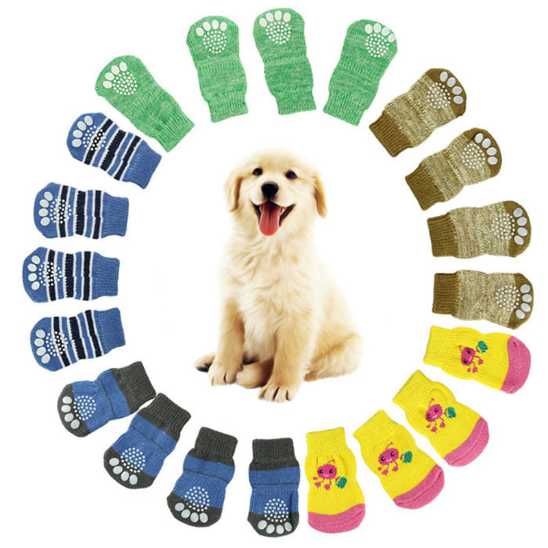4Pcs Cute Puppy Dogs Pet Anti Slip Skid Bottom Sock Warm Cartoon Funny Knits Socks Christmas Gift For Dogs Pet Decorations #Y
