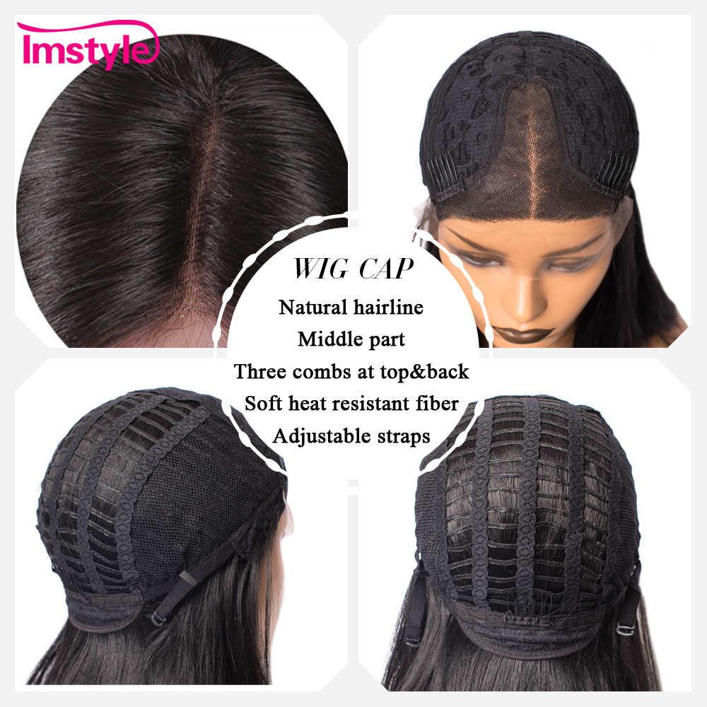 Imstyle Düz Kısa Bob Siyah Peruk Sentetik Saç Dantel Ön Peruk Kadınlar Için T Parça Cosplay Doğal Peruk Tutkalsız 14 inç