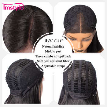 Imstyle Straight Short Bob Black Wigs Synthetic Hair Lace Front Wigs For Women T Part Cosplay Natural Wig Glueless 14 inches
