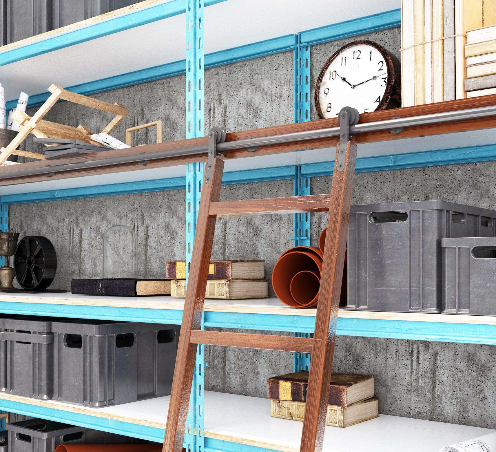 DIYHD, Ladder, Steel, Track, Black, Sliding