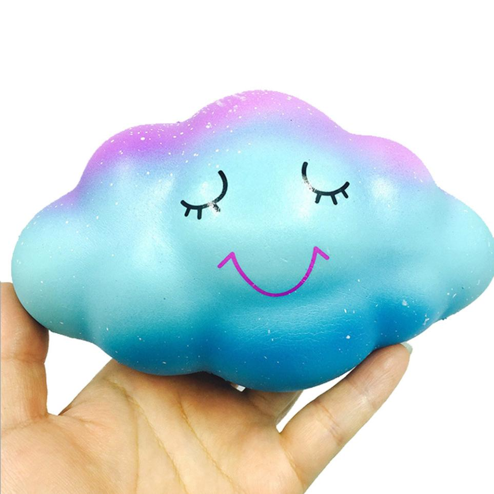 16cm Rainbow Cloud Cream Scented Squishy Slow Rising Squeeze Toys Phone Charm kids gift Random color Decoration