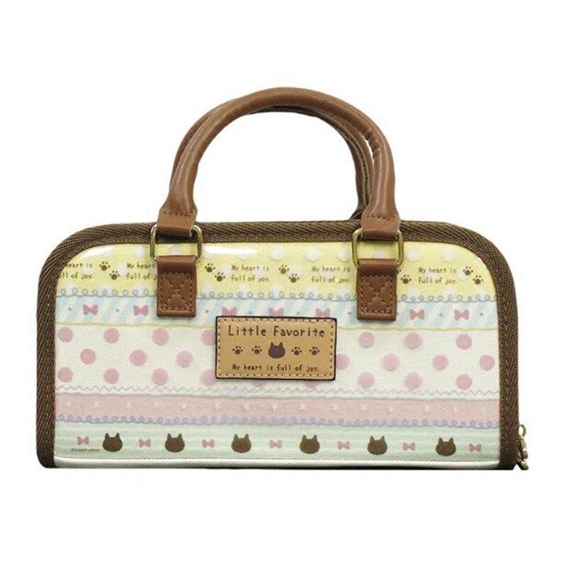 2c86ce73675e Japan Retro Canvas Sewing Handbag Bag Little Favorite Bow Full Of Joy Carry  Case with Pocket Craft Storage 24x12x7.5cm