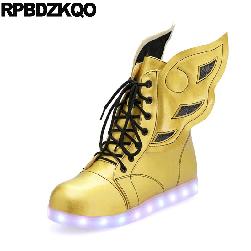 Sneakers Flat Patent Leather 12 44 Gold Front Lace Up Casual Ankle Boots Autumn Big Size Shoes 13 45 Wings Women Light Luminous fall flat black waterproof 2017 women shoes retro front lace up casual ankle boots autumn patent leather chunky booties vintage