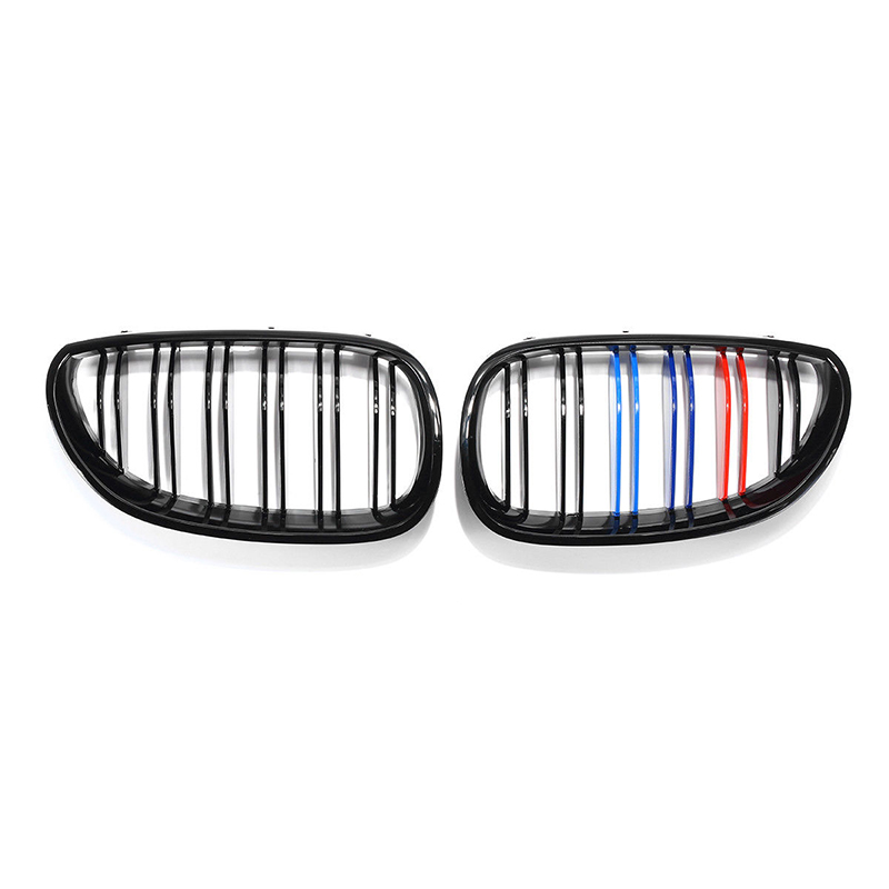 Auto Car Left & Right Front Grilles Gloss Black Tri Color M-Color Front Kidney Grill Grilles For <font><b>BMW</b></font> <font><b>5</b></font> <font><b>Series</b></font> <font><b>E60</b></font> E61 2003-2010 image