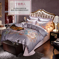 luxury 60S egyptian cotton the Queen Bedding set king queen size 4pcs duvet cover flat sheet pillow case bed linen set