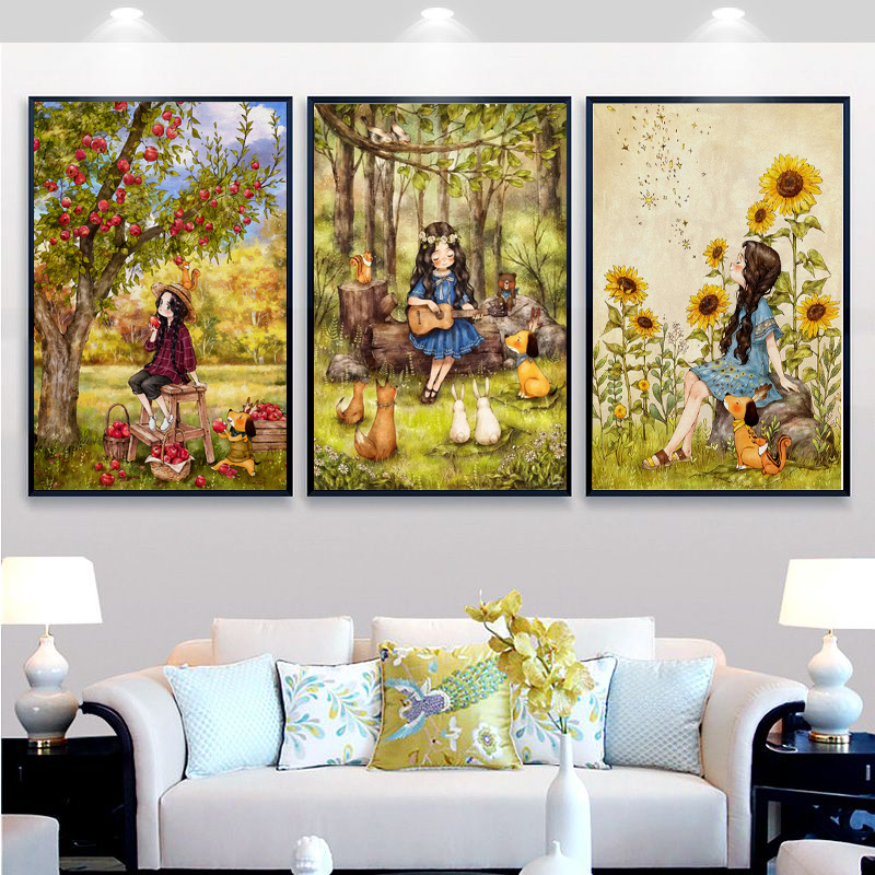New Needlework,DMC Color Full Embroidery Kit,cartoon Apple Sunflower Guitar Angel Girls Painted Pattern Cross Stitch Wall Decor