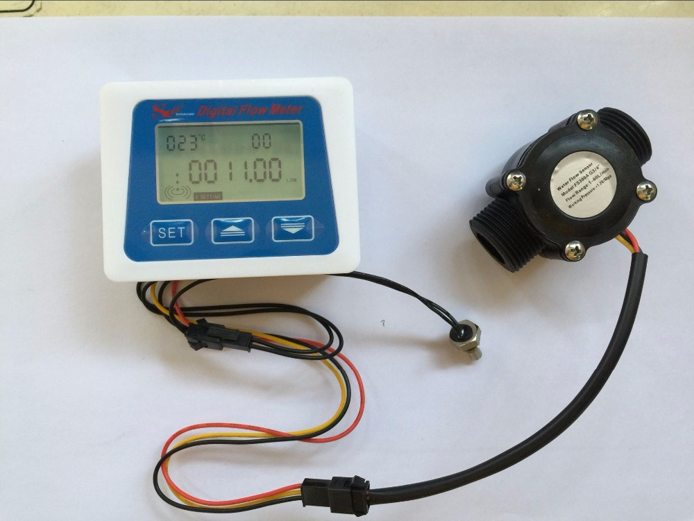 Free shipping G3/4 plastic flow sensor +LCD display Digital meter temperature measuring litre gal intelligent automaticly lcd digital display lux meter free shipping