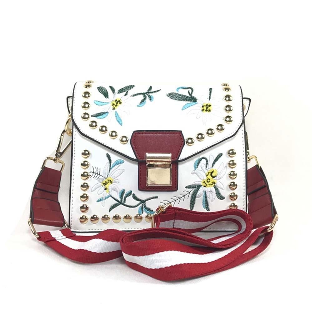 Siuvinėjimas Pečių maišelis 2018 rankinė moterims Moterims Mažas užraktas Crossbody Bag Sac Moterų gėlių mados daugiasluoksnės kniedės maišeliai05