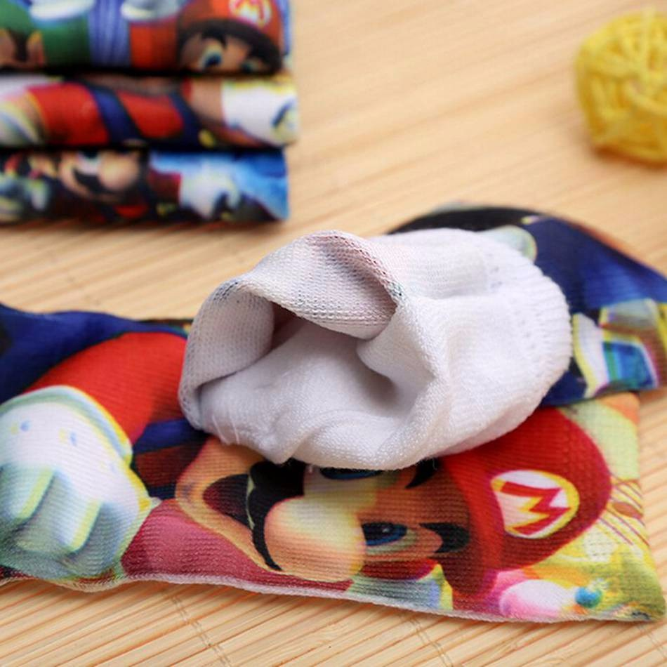 2PAIR New 2016 Kids Socks Cartoon Mario Pattern Winter Girls Boys Socks 4 9 Years Cotton