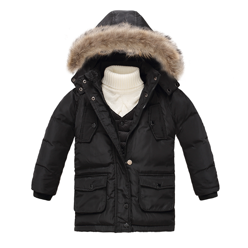 90% White Down Jacket  Kids Boy Winter Coats Outerwear Warm Fur Collar Toddler Detachable Hooded Jackets with Down Vest Set