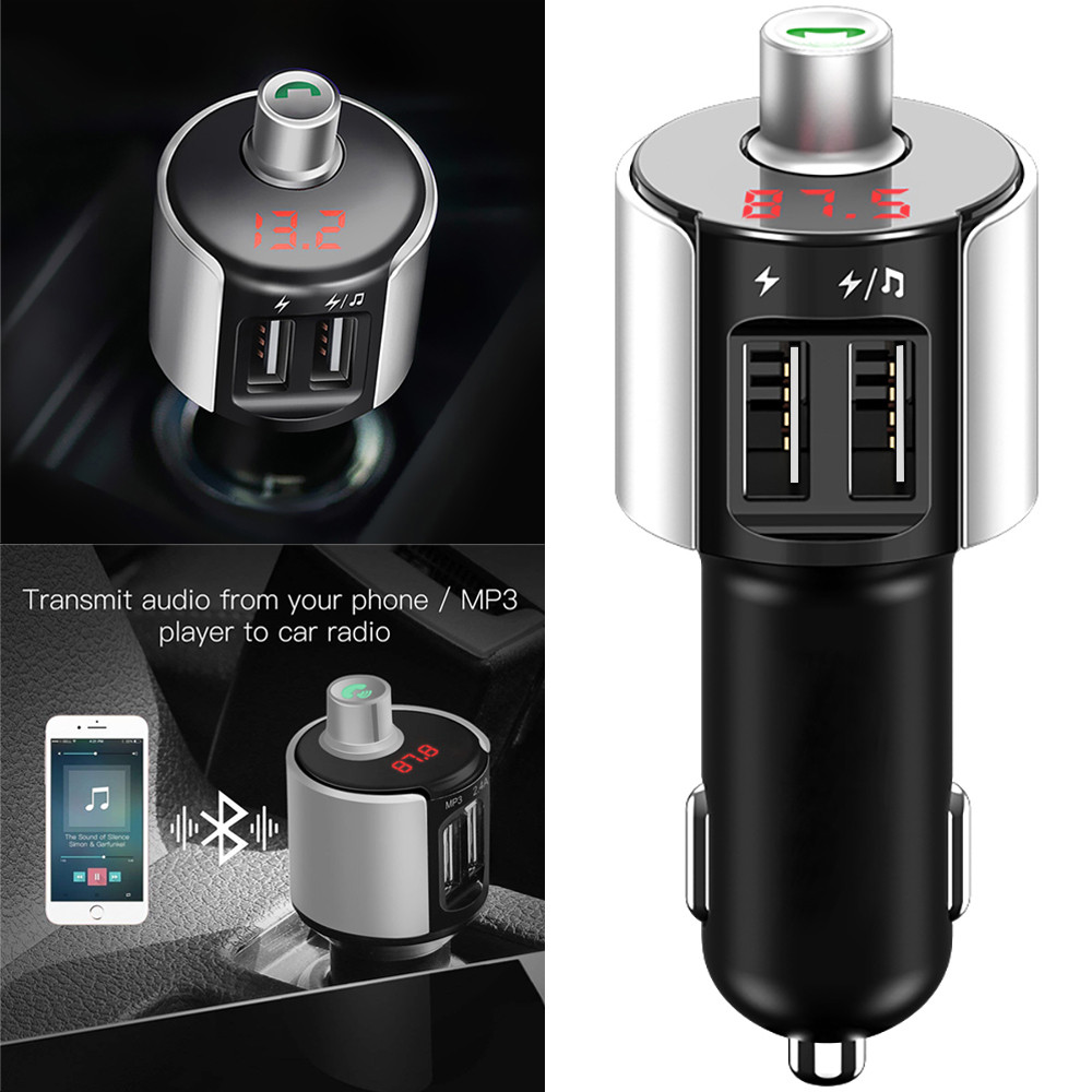 Wireless Bluetooth FM Transmitter Modulator Car Radio Adapter Car MP3 Player Dual USB Car Charger Handsfree Car Kit #@@ 3 in 1 universal car kit mp3 player fm transmitter bluetototh car modulator radio dual port car charger for iphone for samsung