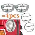 "2x Round Daymaker 7"" Inch LED Projector Headlight Mounting Bracket Ring+2x Silver 7"" Inch Headlamp Assembly Guards Cover"