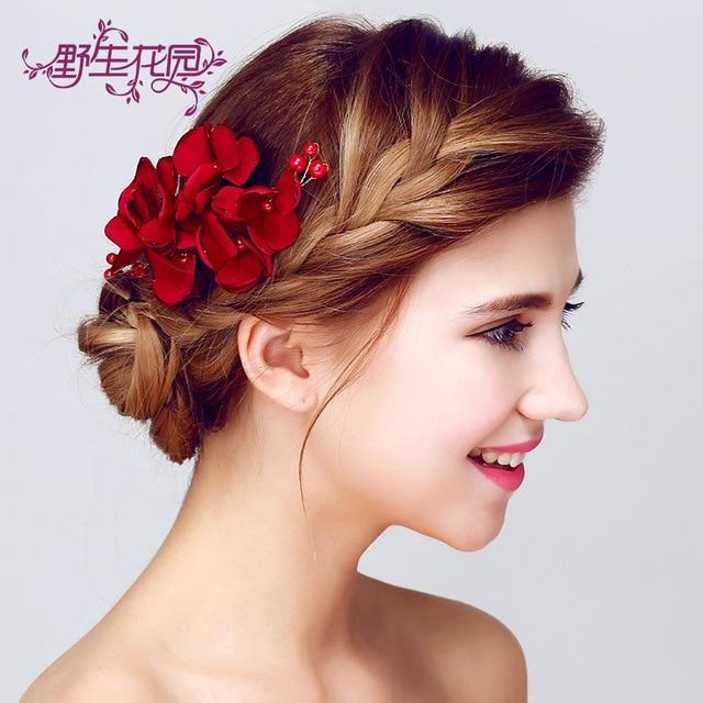 Flor Tocado De La Novia Rojo Adornos Horquillas Para El Cabello - Adornos-de-novia-para-el-cabello
