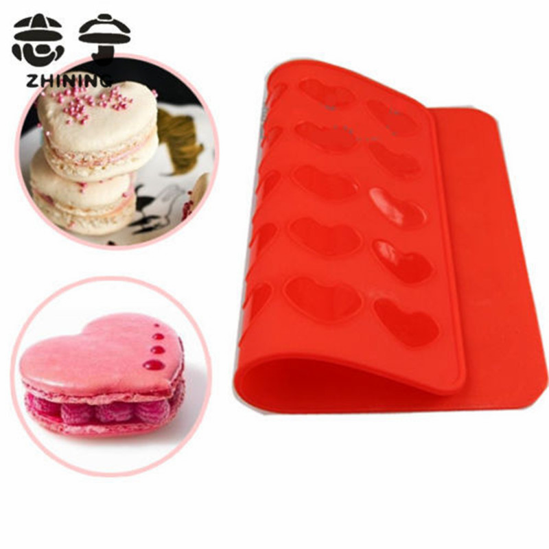 Silicone macaron mat 1pc lovely red heart shape baking mold Christmas cake tool bakeware baking pastry