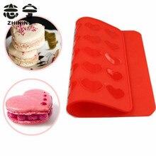 Silikonmatte Macaron 1 Stück schöne rote Herzen Form Backform Weihnachten Kuchen Backformen backen Gebäck Werkzeuge Freies Verschiffen Y-130