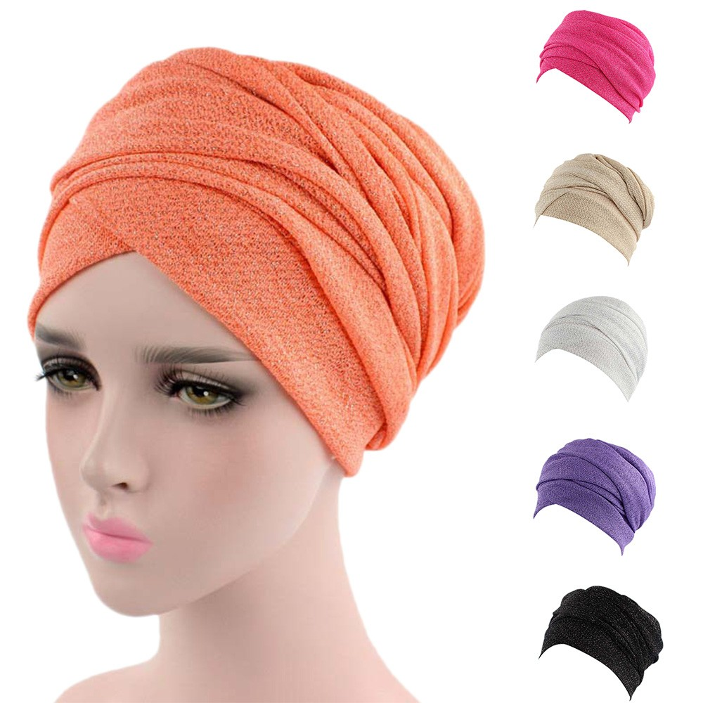 2019 New Fashion Women India Africa Muslim Stretch Turban Hat Gauze Hair Head Scarf Wrap Hat Summer Hats For Women 4.11