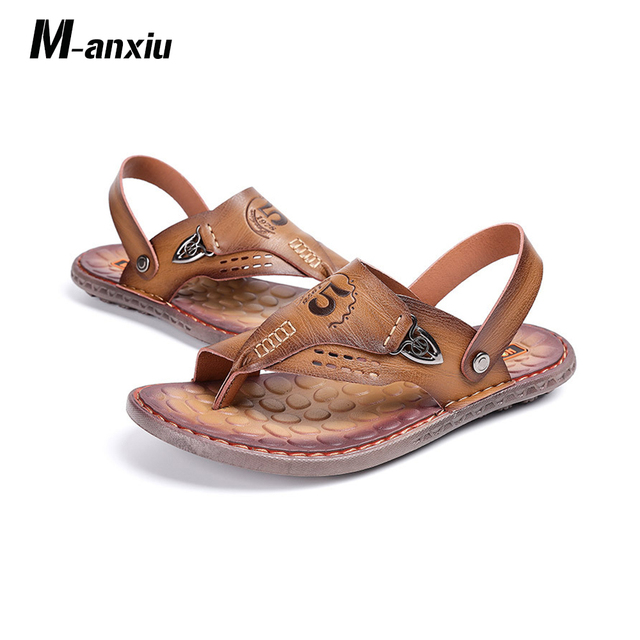 5afd5a76f9d M-anxiu Summer Genuine Leather Buckle Strap PU Sole Sandals 2018 Man Casual  Flat Leisure Summer Gladiator Shoes