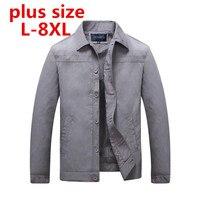 Plus größe 8XL7XL 6XL Frühling Herbst Mann Freizeitjacke Mode dünne Stepp mantel Anzug Stehen Kragen Business stil für männlich