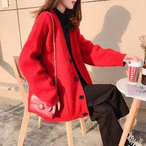 Image 3 - Suéteres de moda para mujer, cárdigan de talla grande informal de Color sólido, suéter para mujer, ropa de abrigo de bolsillo elegante a la moda para otoño 2020