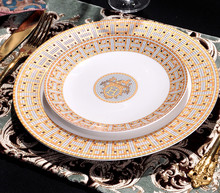European Bone China Dinner Plates Geometric Pattern Ceramic Dish Dessert Salad Plate Yellow Grid Dinnerware Set Free Shipping