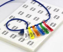 300 pçs/lote, 84x26mm cabo de rede rótulo adesivo, à prova d água, resistente ao desgaste, escrever ou imprimir, Item N °. HT02