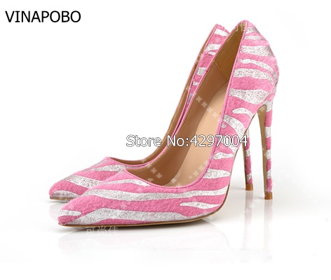 VINAPOBO Women s Pointed Toe Animal Print Horsehair Pumps Leopard Print High Heel Pump Genuine Leather