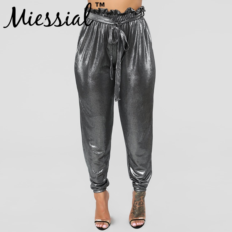 Miessial Pleated silver loose ruffle harem   pants   Women high waist lace up belt winter   pants     capris   Female casual trousers bottom