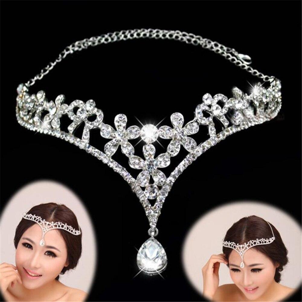 1pcs Lot Fashion Silver Rhinestone Head Chain Headpiece