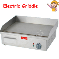 Electric Griddle Flat Plate Grooved Machine Stainless Steel Toasting Grill Machine for Party Picnic FY-818A